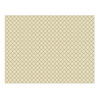 Erdiges Brown Quatrefoil auf Gold Postkarte