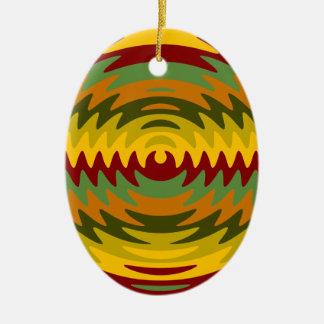 Erdtöne Sägeblatt-Zahn-Kräuselungs-Wellen Ovales Keramik Ornament