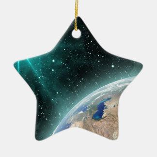 Erdweltraum Keramik Stern-Ornament