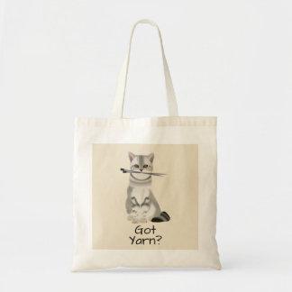 """""""Erhielt Garn-"""" Katze mit Typografie der Tragetasche"""