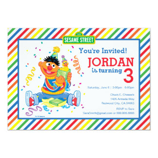 Ernie Striped Geburtstag 12,7 X 17,8 Cm Einladungskarte