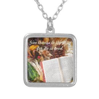 Erntedank-Ernte und Bibel Versilberte Kette