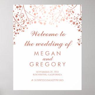 Erröten der Atem-Hochzeits-Willkommensschild des Poster