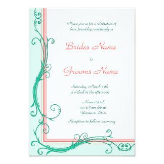 Erröten Pfirsich u. tadellose Hochzeits-Einladung Karte