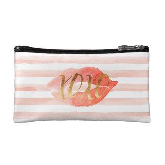 Erröten rosa Aquarell-Kuss des GoldXOXO Kosmetiktasche