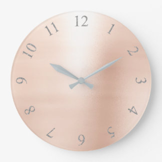 Erröten rosa metallische Zahlen silbernes Grau US Große Wanduhr