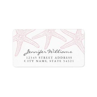 Erröten rosa Starfish-Adressen-Etikett Adressaufkleber