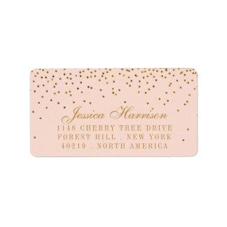 Erröten Rosa u. Goldconfetti-Hochzeit Adressaufkleber