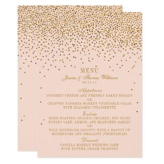Erröten Rosa u. Goldconfetti-Hochzeits-Menü 11,4 X 15,9 Cm Einladungskarte