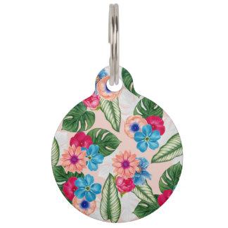 Erröten rosa und blaue Watercolor-Dschungel-Blumen Tiermarken Mit Namen