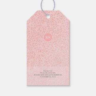 Erröten rosa Vintage Monogramm-mit Blumenhochzeit Geschenkanhänger