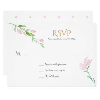 Erröten Rosaund Goldwatercolor-Blumen UAWG 8,9 X 12,7 Cm Einladungskarte