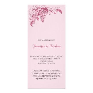 Erröten Weinstock-Hochzeits-Programm Werbekarte