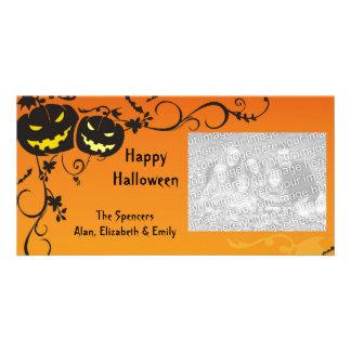 Erschreckende Kürbis-Halloween-Foto-Karte Fotokartenvorlage