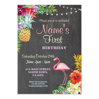Erste der Geburtstags-Einladung des Flamingo-Aloha 12,7 X 17,8 Cm Einladungskarte