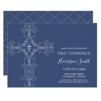 Erste die Kommunions-Einladung des Jungen - Kreuz, Karte