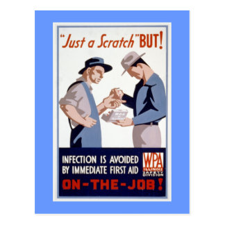 Erste ERSTE HILFE Vintages WPA Plakat Postkarte