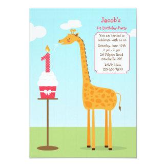 Erste Geburtstags-Giraffen-Einladung 12,7 X 17,8 Cm Einladungskarte