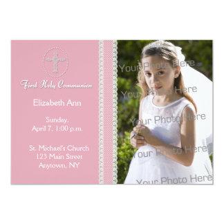 Erste heilige Kommunion, rosa Band-Einladung 12,7 X 17,8 Cm Einladungskarte