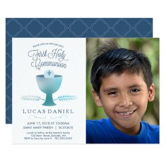 Erste heilige Kommunions-Einladung - Bild, Junge Karte