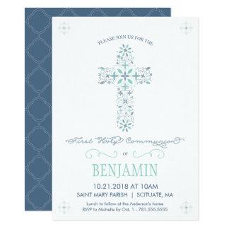 Erste heilige Kommunions-Einladung - des Jungen 11,4 X 15,9 Cm Einladungskarte