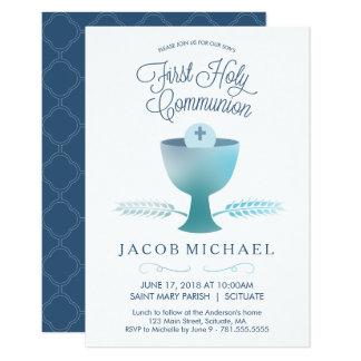 Erste heilige Kommunions-Einladung - des Jungen 8,9 X 12,7 Cm Einladungskarte
