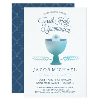 Erste heilige Kommunions-Einladung - des Jungen Karte