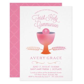 Erste heilige Kommunions-Einladung - des Mädchens Karte