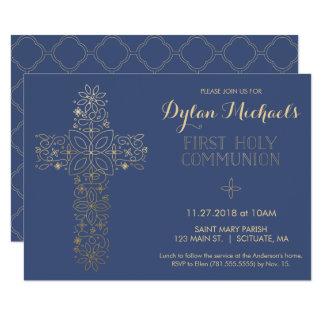 Erste heilige Kommunions-Einladung, Goldkreuz 8,9 X 12,7 Cm Einladungskarte