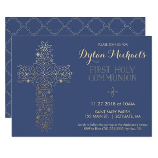 Erste heilige Kommunions-Einladung, Goldkreuz Karte