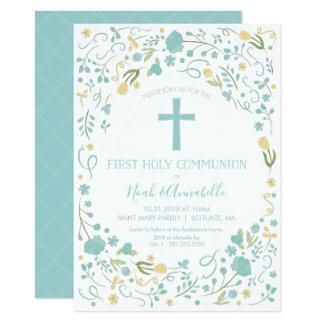 Erste heilige Kommunions-Einladung - Junge Karte