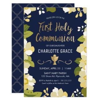 Erste heilige Kommunions-Einladung, mit Blumen mit 8,9 X 12,7 Cm Einladungskarte