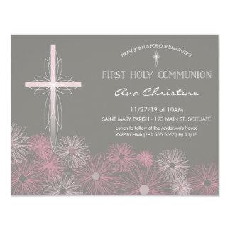 Erste heilige Kommunions-Einladung mit Kreuz, 10,8 X 14 Cm Einladungskarte