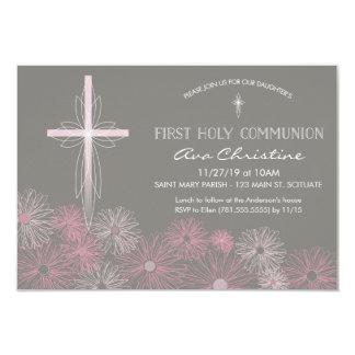 Erste heilige Kommunions-Einladung mit Kreuz, Karte
