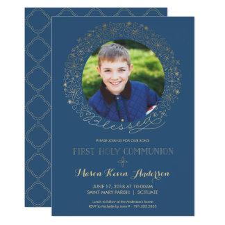 Erste heilige Kommunions-Foto-Einladung, Jungen Karte