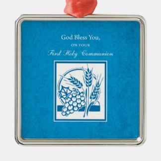 Erste Kommunion, Weizen, Trauben blau Quadratisches Silberfarbenes Ornament