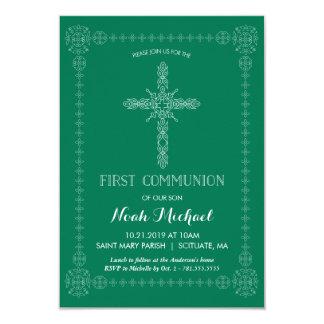 Erste Kommunions-Einladung, grün mit elegantem Karte