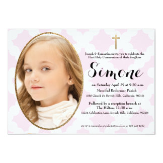 Erste Kommunionseinladung, Rosa u. Imitatgold 12,7 X 17,8 Cm Einladungskarte