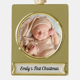 Erste Verzierung des Babys Weihnachts Banner-Ornament Gold