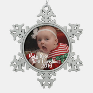 Erste Verzierung des Babys Weihnachts Schneeflocken Zinn-Ornament