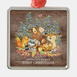 Erste Verzierung des Waldtier-Babys Weihnachts Silbernes Ornament