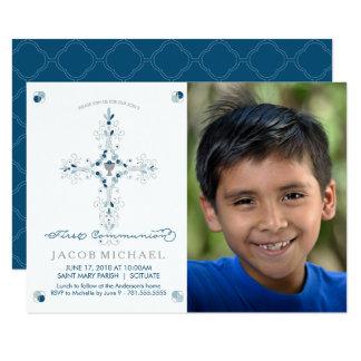 Ersten Kommunions-Foto-Einladungs-Jungen, Karte