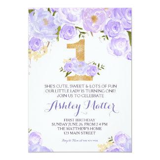 Erster Geburtstag lila Watercolor Blumeneinladung 12,7 X 17,8 Cm Einladungskarte