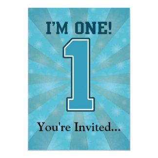 Erster Geburtstags-Junge, bin ich einer, große 12,7 X 17,8 Cm Einladungskarte