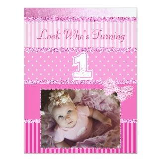 Erster Geburtstags-rosa Baby-Mädchen-Party Karte