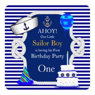 Erster Geburtstags-Seemann-Jungen-blauer Streifen Quadratische 13,3 Cm Einladungskarte