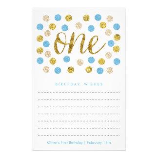 Erster Geburtstags-Wunsch kardiert blaues   und Flyer