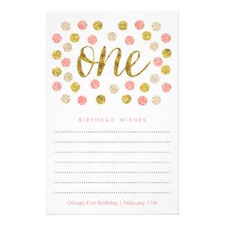 Erster Geburtstags-Wunsch kardiert  Pink und Flyer