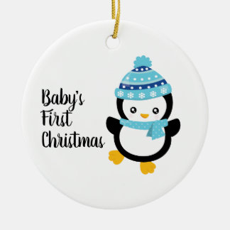 Erster Pinguin des Babys Weihnachts Keramik Ornament