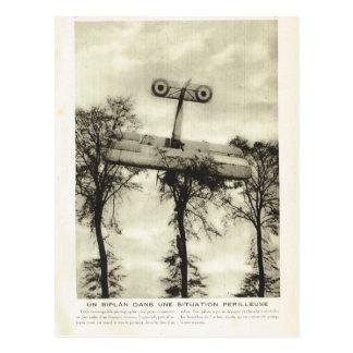 Erster Weltkrieg, Doppeldeckerabbruch in die Bäume Postkarte